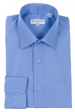 Cadet Blue Classic Fit Regular Cuff Dress Shirt by Modena