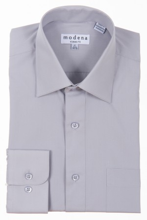 Silver Classic Fit Regular Cuff Dress Shirt by Modena