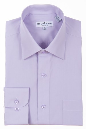 Lavender Classic Fit Regular Cuff Dress Shirt by Modena