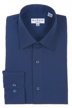 Navy Classic Fit Regular Cuff Dress Shirt by Modena