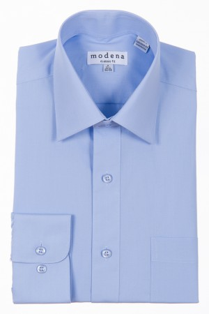 Light Blue Classic Fit Regular Cuff Dress Shirt by Modena