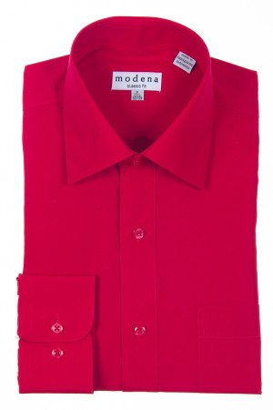 Red Classic Fit Regular Cuff Dress Shirt by Modena