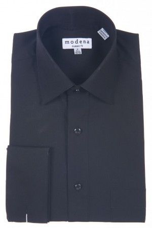 Black Classic Fit French Cuff Dress Shirt by Modena