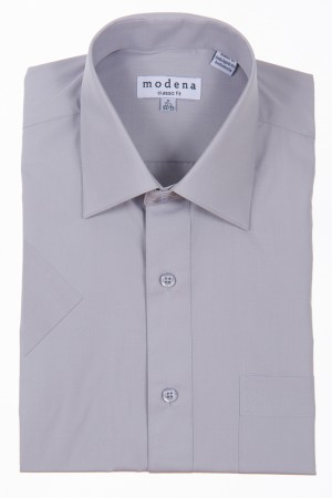 Gray Classic Fit Short Sleeve Dress Shirt by Modena