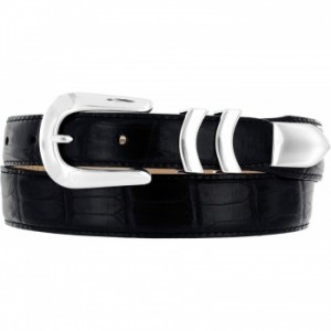 Brighton Black Leather Belt Embossed Croc with metal hardware finish