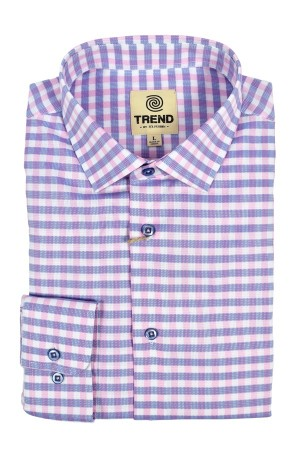 Trend Cotton Stretch Modern Fit Pink Check (T272)