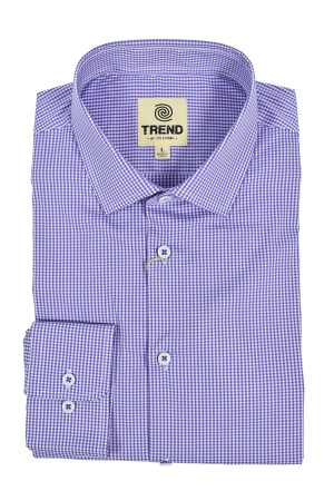 Trend Cotton Stretch Modern Fit Blue Check (T273)